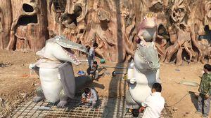 沧州动物园雕塑安装